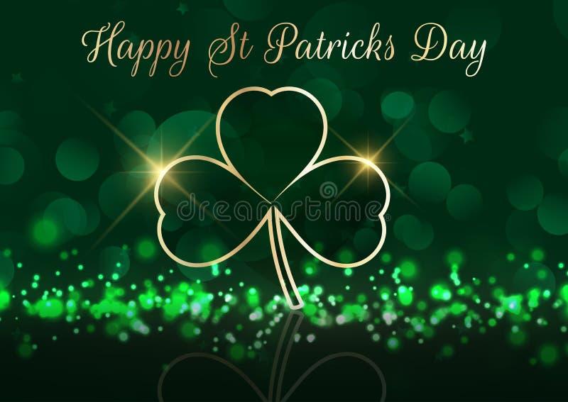 St Patrick dnia tło z shamrock na bokeh zaświeca royalty ilustracja