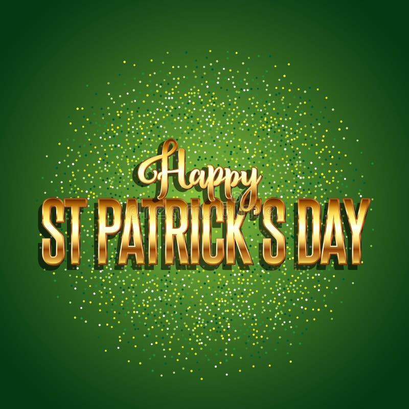 St Patrick dnia tło z złocistym tekstem royalty ilustracja