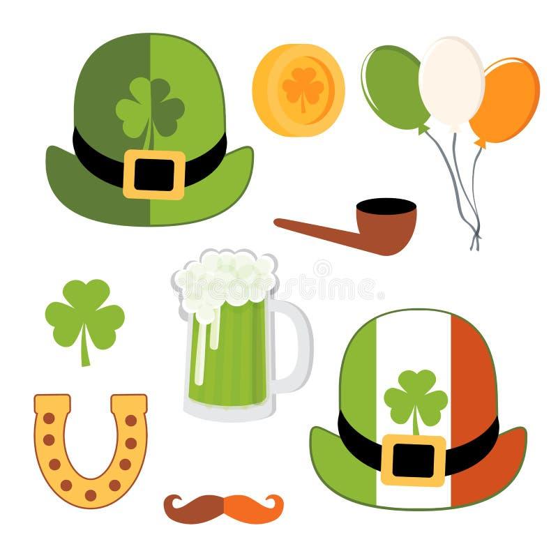 St Patrick dnia wektoru dekoracja Podkowa dla szczęścia i koniczyny ilustracja wektor