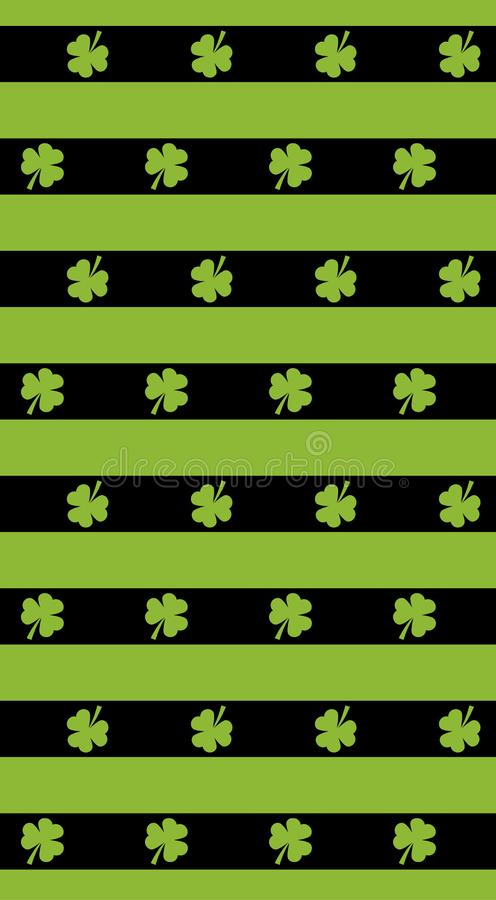 St Patrick dnia wektoru tło Bezszwowi wzorów lampasy z zieloną koniczyną St Patrick dnia wektoru wzór dostępnego tła czerń błękit ilustracji