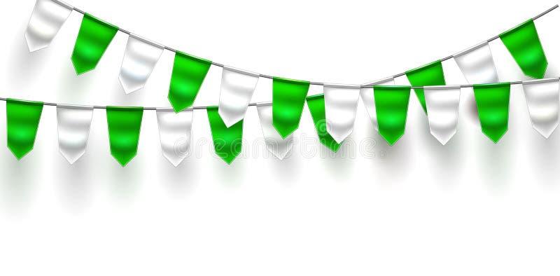 St Patrick för flagga 3d för vektor realistisk bunting dag royaltyfri illustrationer