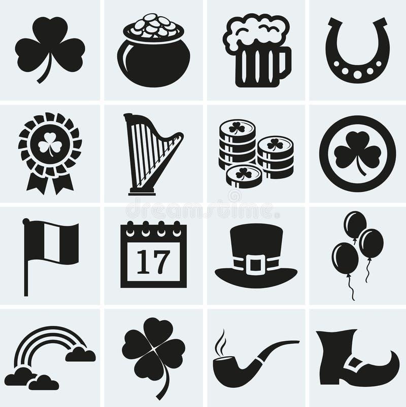 St Patrick geplaatste de pictogrammen van de Dag Naadloze bloemenachtergrond royalty-vrije illustratie