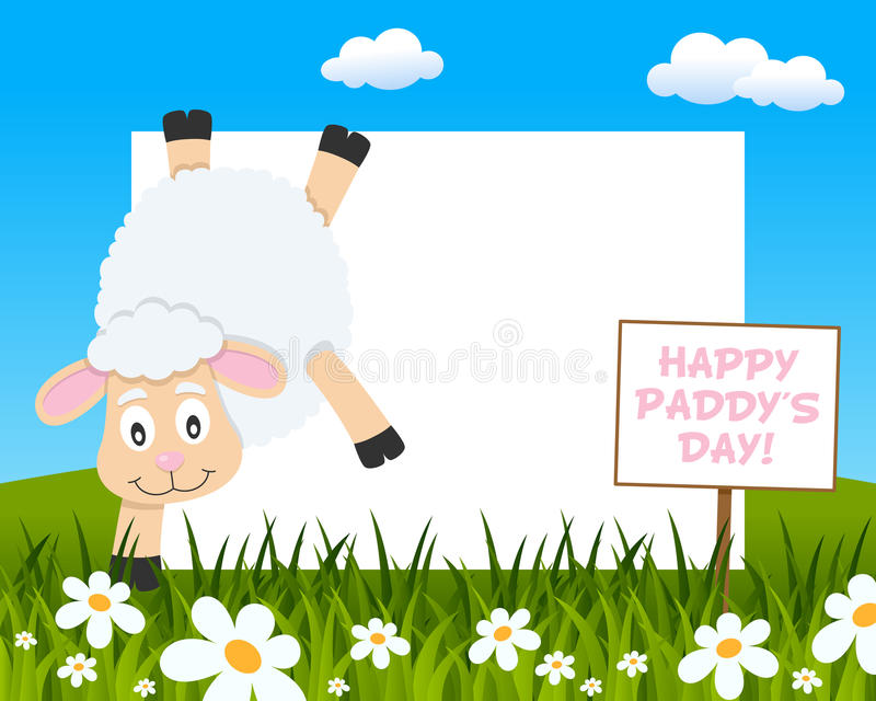 St. Patrick Happy Sheep Horizontal Frame royalty free stock photo
