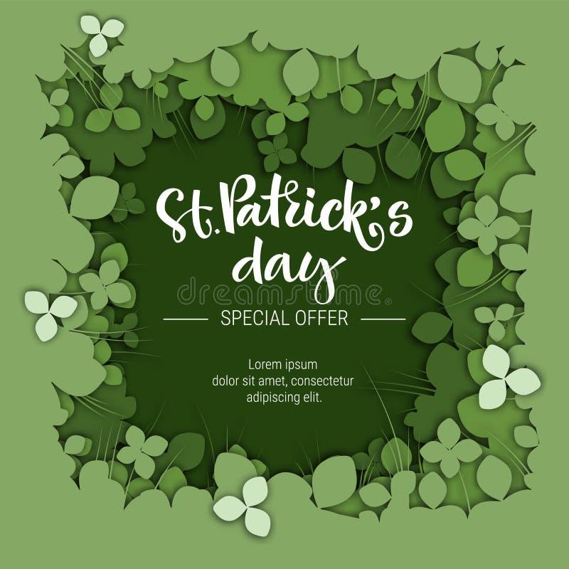 St Patrick het embleem van de de verkoopkalligrafie van de dagspeciale aanbieding op Groenboek sneed klaverachtergrond stock illustratie