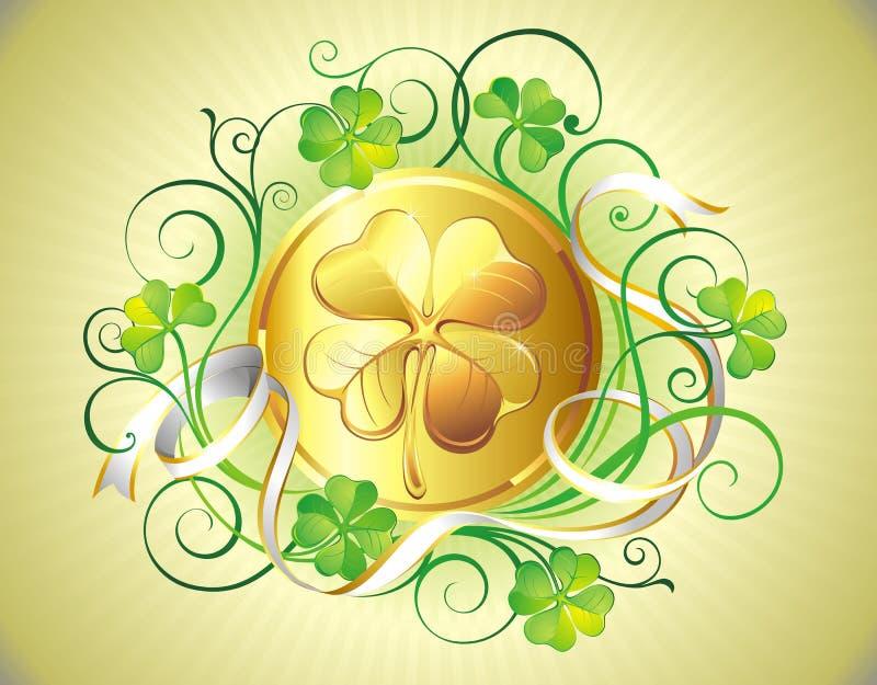 St. Patrick het gouden muntstuk van de Dag stock illustratie