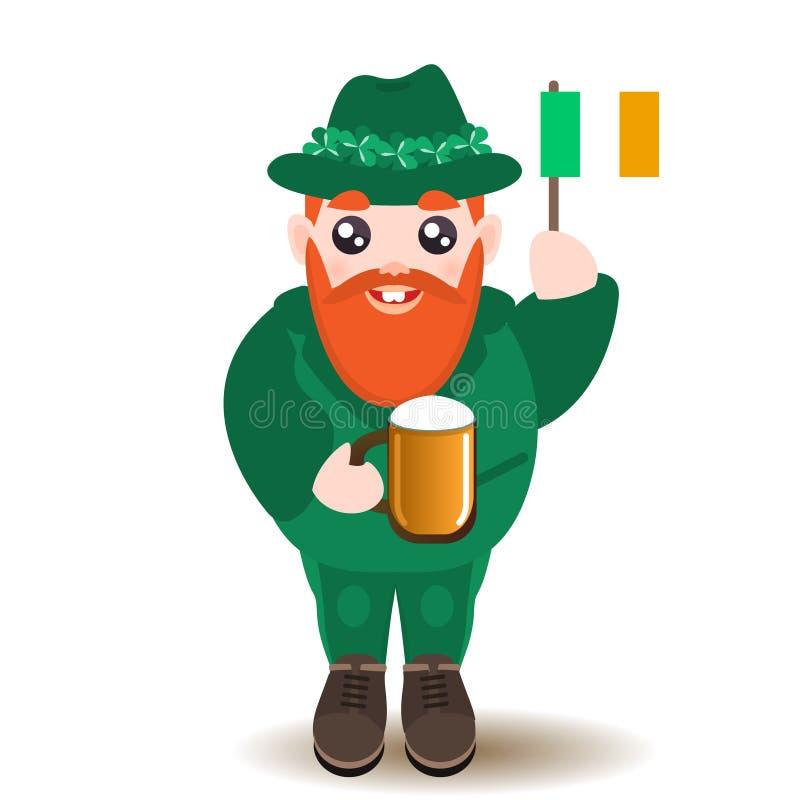 St Patrick het karakter van de Dagmens met bier en Ierse vlag royalty-vrije illustratie