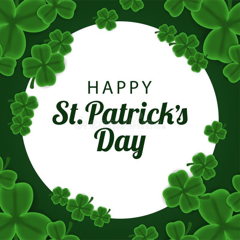 St Patrick het malplaatje van de dagbanner met illustratie van de bladeren van de klaverklaver royalty-vrije stock foto's