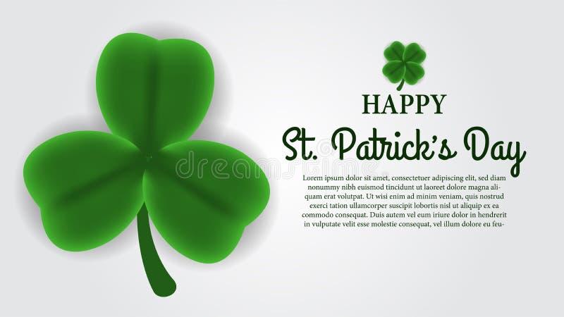 St Patrick het malplaatje van de dagbanner met illustratie van drie bloemblaadjes van klaver of klaver gaat weg vector illustratie
