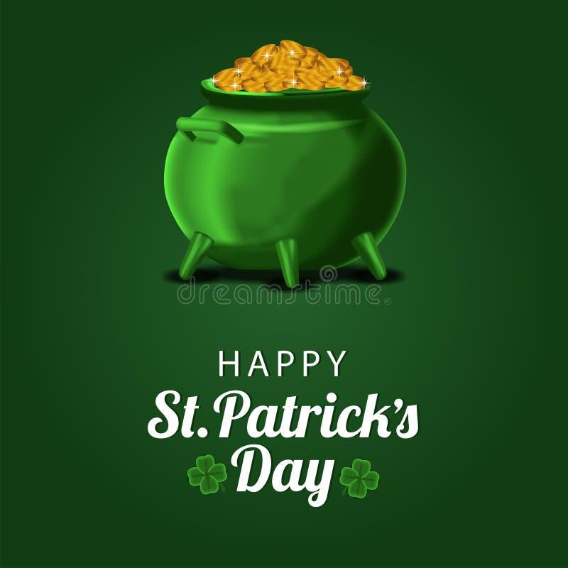 St Patrick het malplaatje van de dagbanner met illustratie van gouden muntstuk in de pot stock fotografie