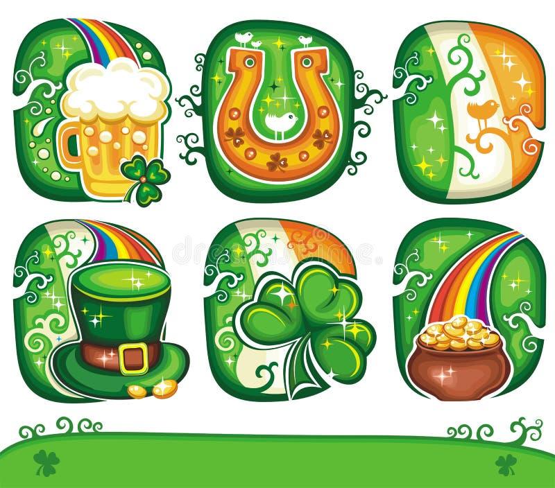 St. Patrick het pictogram vastgestelde reeks 4 van de Dag stock illustratie