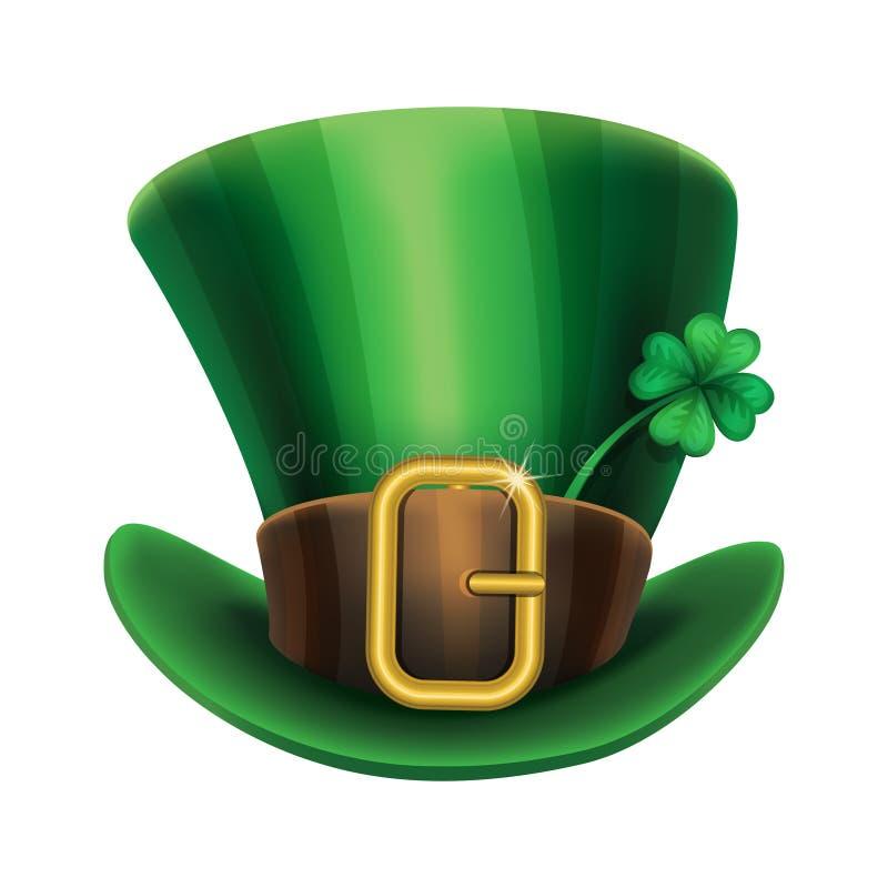 St Patrick hoed van de Dag de groene kabouter met klaver stock illustratie