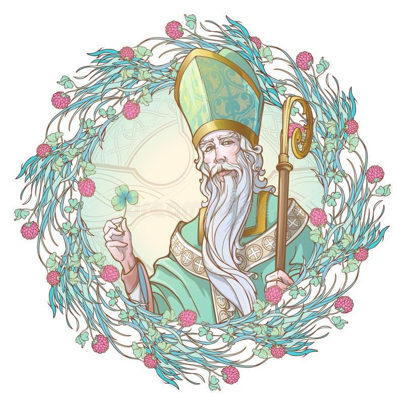 St. Patrick holding a clover leaf. Ornate floral frame in a shape of pink clover flowers wreath stock illustration
