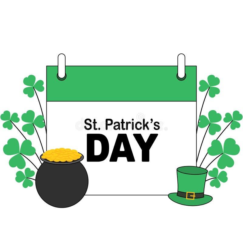 St Patrick; insegna di giorno di s con differenti elementi irlandesi illustrazione di stock