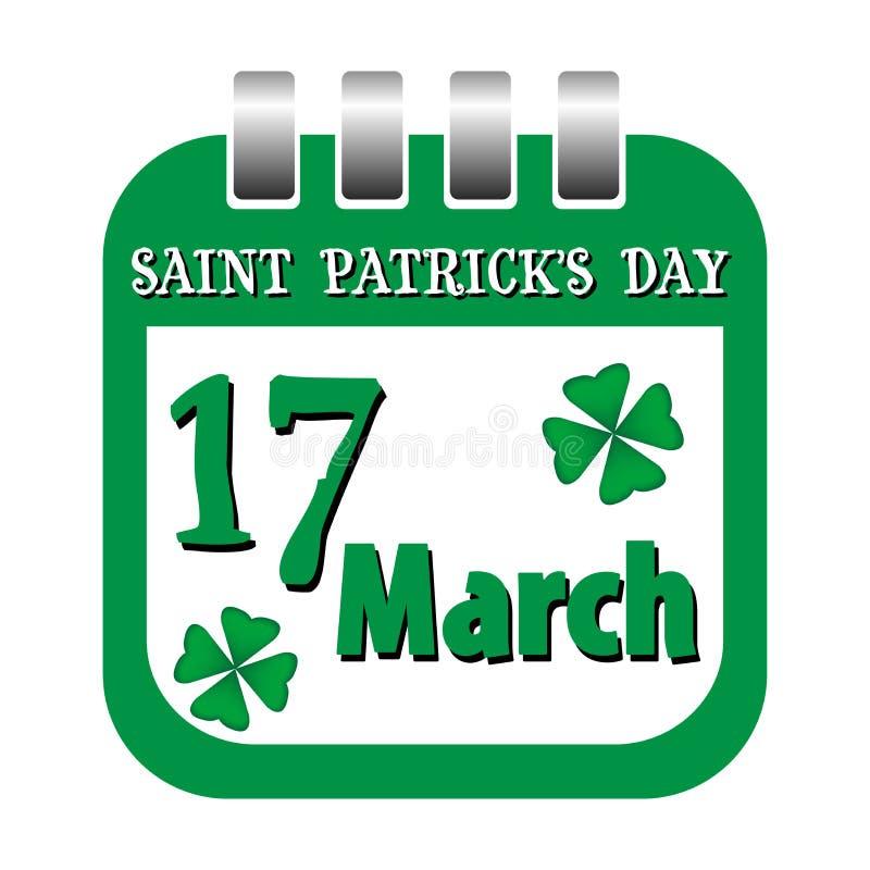 St Patrick kalenderark royaltyfri illustrationer