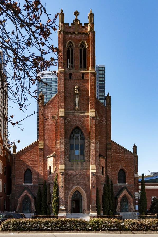 St Patrick katholische Kirche, Fassade, San Francisco, die Vereinigten Staaten von Amerika lizenzfreies stockbild