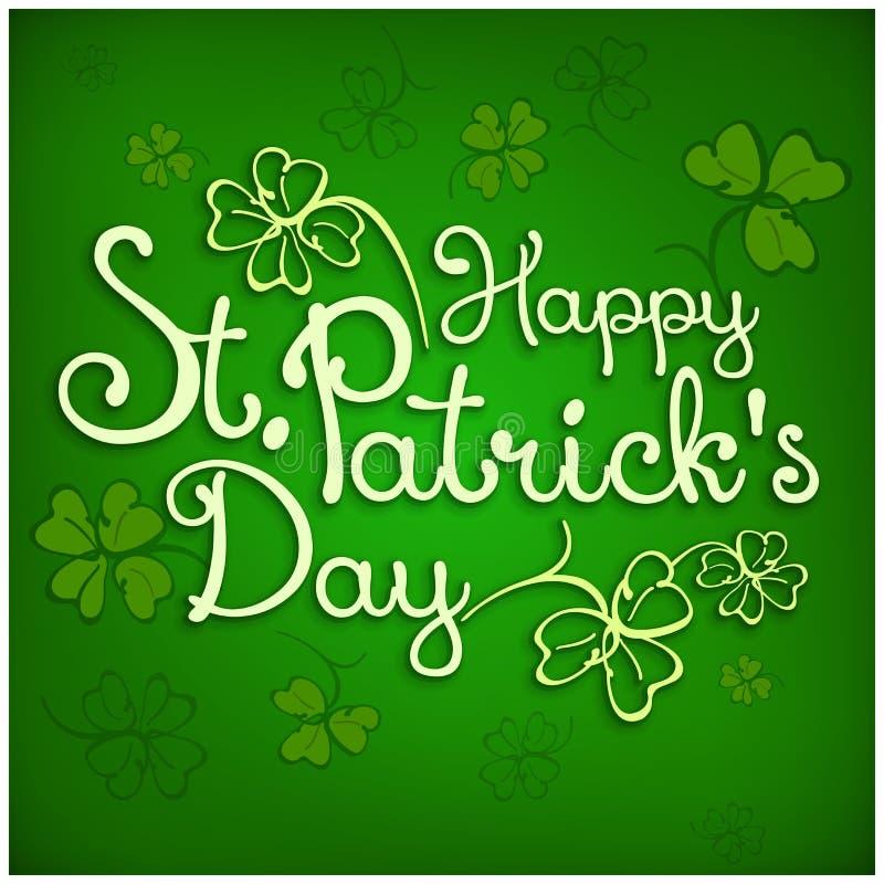 St Patrick literowanie na zieleni ilustracji