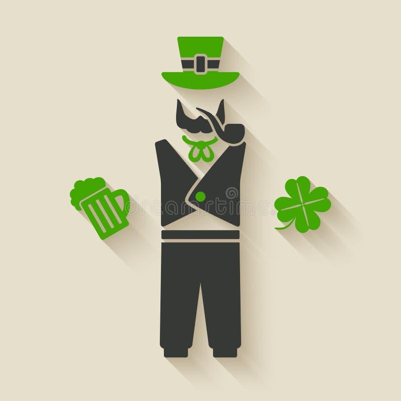 St Patrick mens met bier en klaver royalty-vrije illustratie