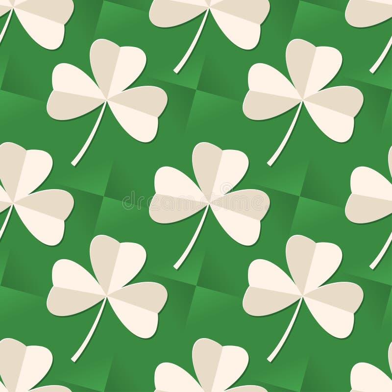 St Patrick nahtloses Muster Tagesdes vektors mit Kleeblättern auf grünem Hintergrund vektor abbildung