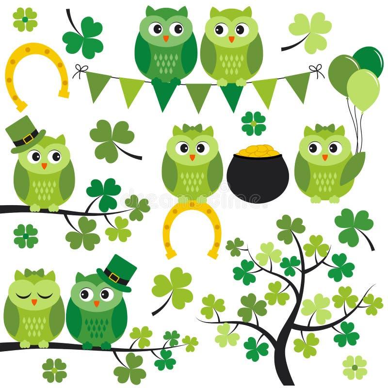 St Patrick Owls royalty illustrazione gratis