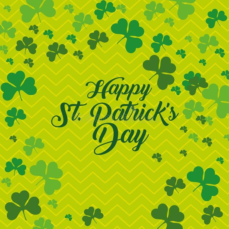 St Patrick parzysty, równy świętowanie z koniczynami ilustracji