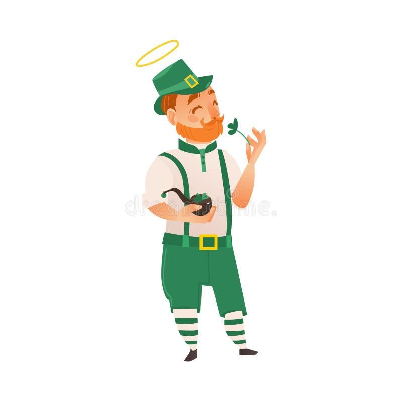 St Patrick que sostiene el trébol y el tubo que fuma stock de ilustración