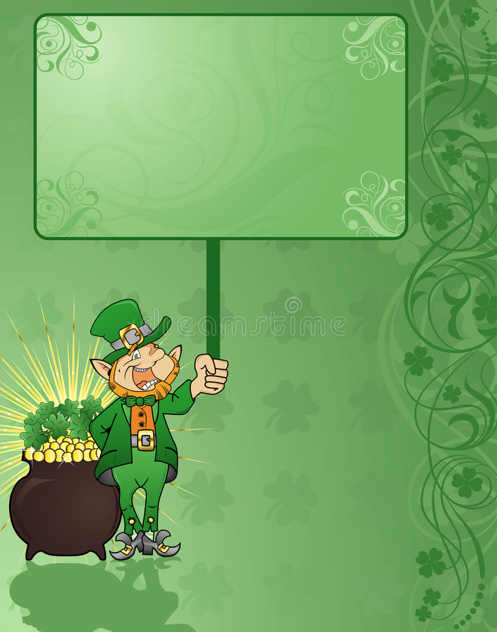 St. Patrick's Background. St. Patrick's Day background with clover, hat and flower