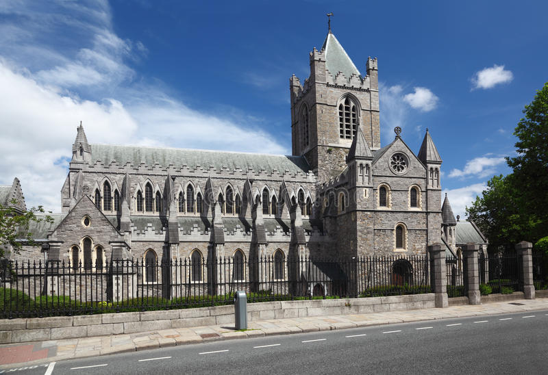 St. Patrick's Cathedral in Dublin, Ireland. St. Patrick's Cathedral and blue sky in Dublin, Ireland, horizontal royalty free stock images