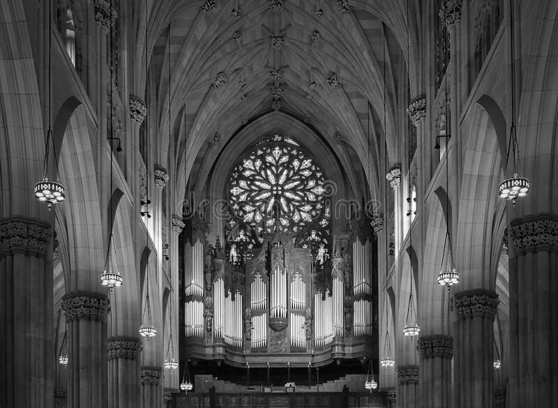 St. Patrick`s Cathedral on Manhattan. Interior. stock images