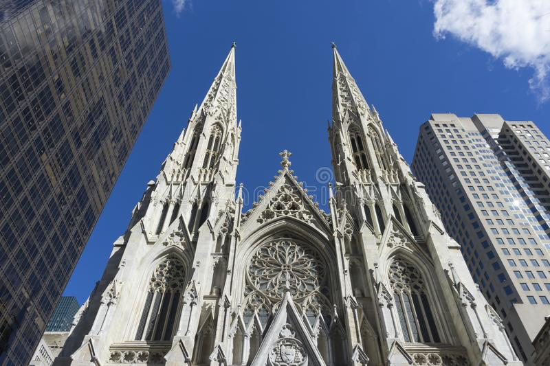 St. Patrick`s Cathedral in Manhattan, NYC. St. Patrick`s Cathedral on 5th avenue in Manhattan, NYC royalty free stock images