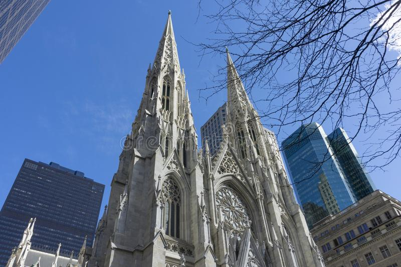 St. Patrick`s Cathedral in Manhattan, NYC. St. Patrick`s Cathedral on 5th avenue in Manhattan, NYC royalty free stock photo