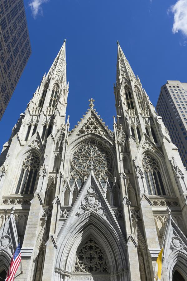 St. Patrick`s Cathedral in Manhattan, NYC. St. Patrick`s Cathedral on 5th avenue in Manhattan, NYC stock images