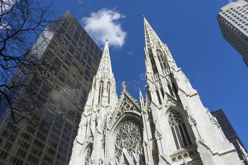 St. Patrick`s Cathedral in Manhattan, NYC. St. Patrick`s Cathedral on 5th avenue in Manhattan, NYC royalty free stock photos