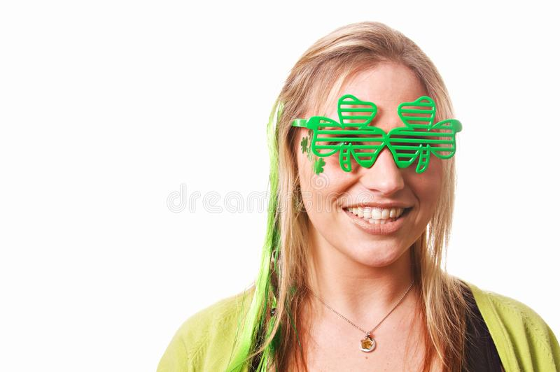 St Patrick ` s Dag Dame Celebrating royalty-vrije stock foto