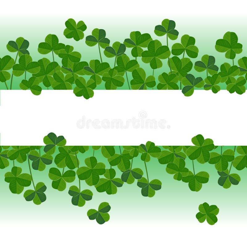 St Patrick ` s dag horizontale achtergrond met klaverbladeren Elegante bladerensilhouetten, plaats voor tekst stock illustratie