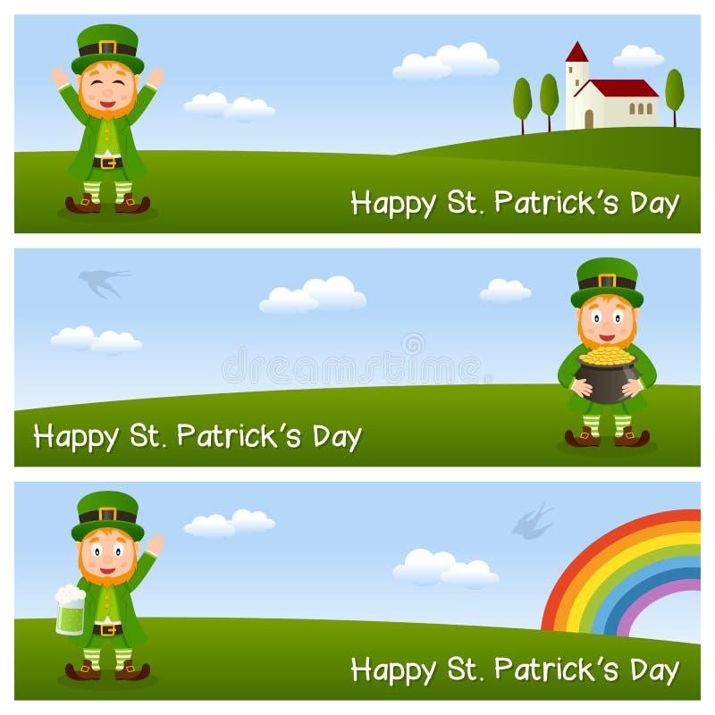 St. Patrick s Dag Horizontale Banners royalty-vrije illustratie