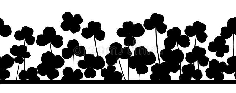 St Patrick ` s dag horizontale naadloze achtergrond met klaverbladeren vector illustratie