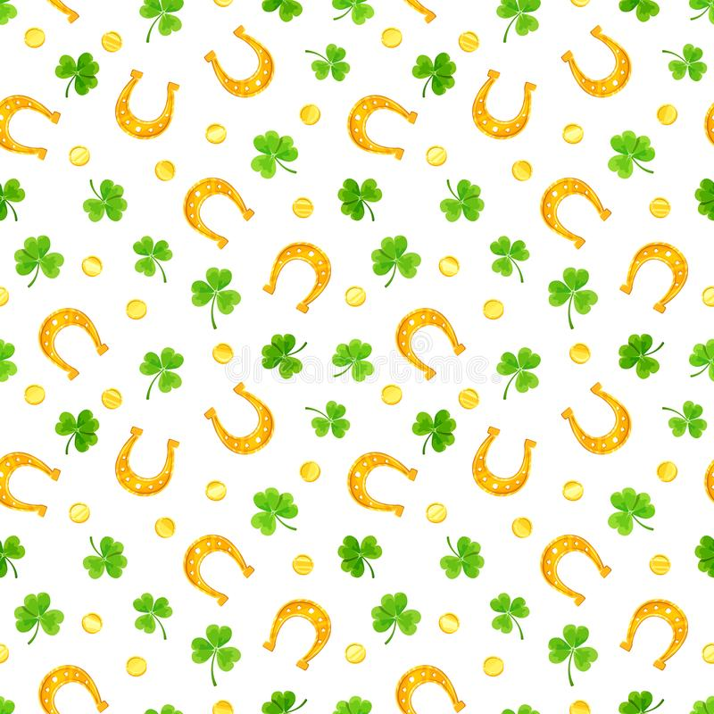 St Patrick ` s dag naadloos patroon met klaver, gouden muntstukken en hoeven Vector illustratie vector illustratie