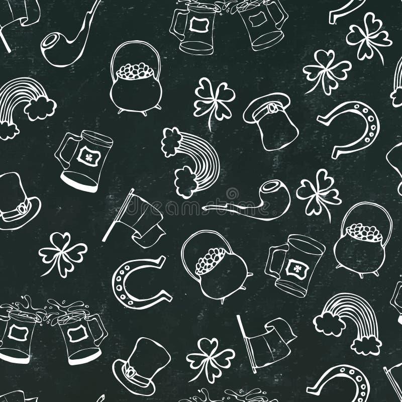 St Patrick s Dag Naadloze Achtergrond Patroon van bier, hoed, klaver, vlag, hoef, pijp, pot van goud, regenboog op Zwart Krijt BO royalty-vrije illustratie