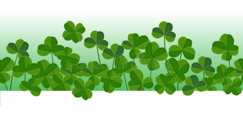 St Patrick ` s dag vector horizontale naadloze achtergrond met klaverbladeren stock illustratie