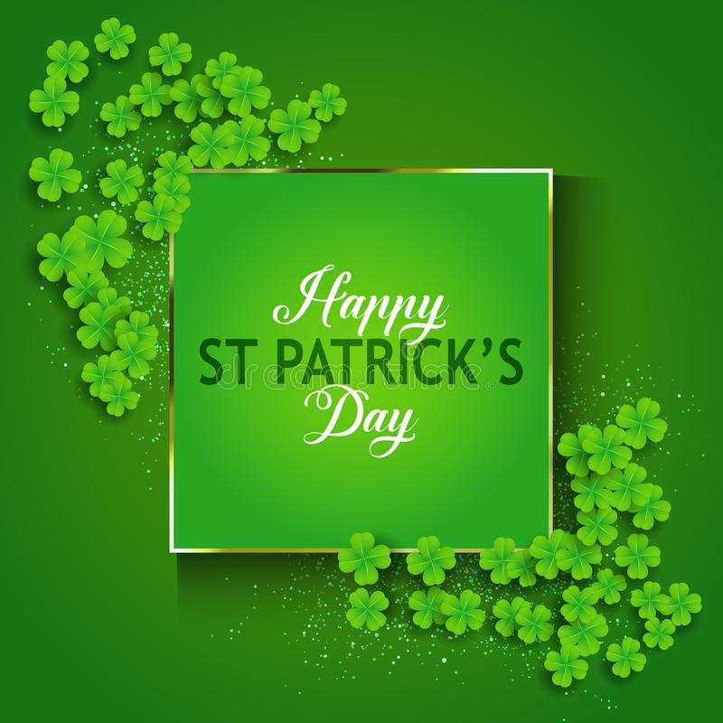 St Patrick ` s Dagachtergrond met klaver stock illustratie