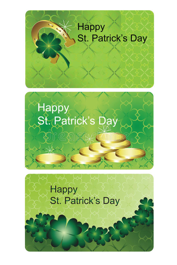 St. patrick's day. Pattern mini cards stock illustration