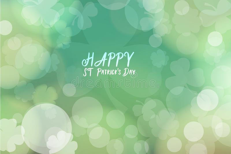 St. patrick`s day abstract green bokeh background for design stock illustration