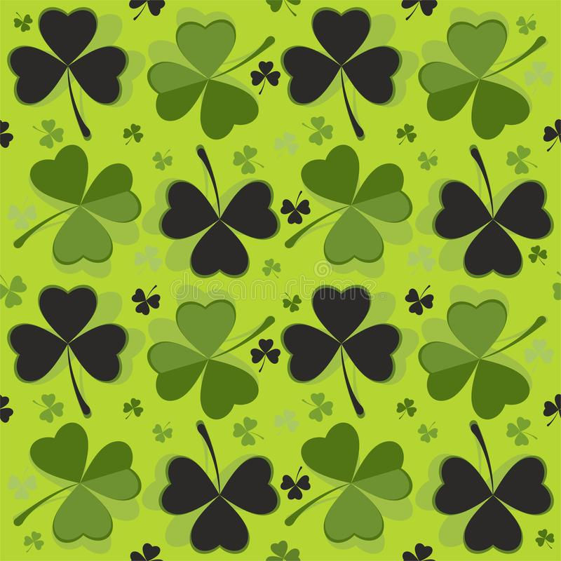 Abstract graphic seamless pattern. St. Patrick`s day background. Design with clover. Background with clover - St. Patrick`s day holiday symbol - in green and vector illustration
