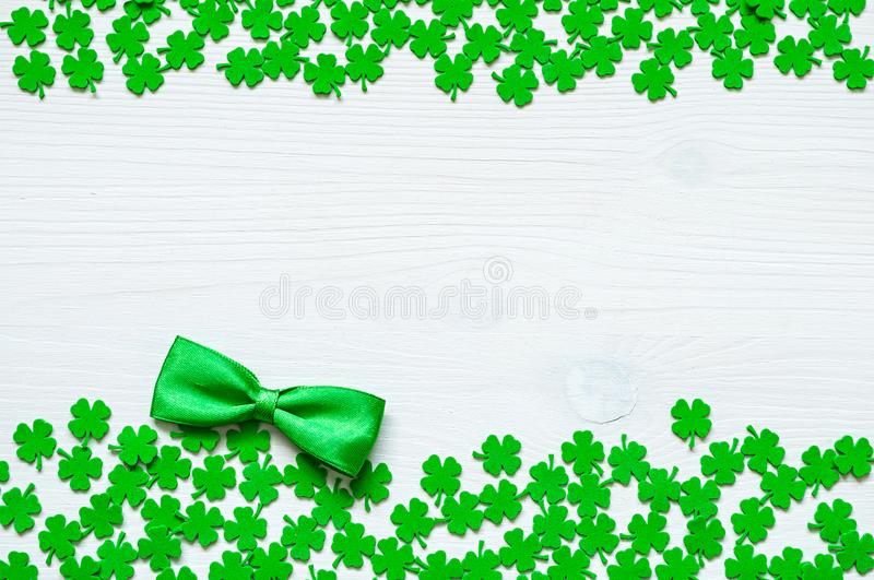 St Patrick`s Day background, double side border with quatrefoils stock photos