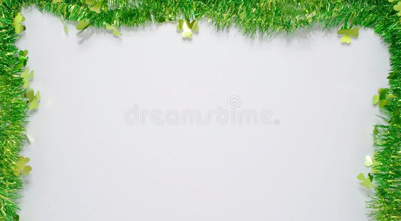 A St Patrick`s day background with a large white area for added text royalty free stock photos
