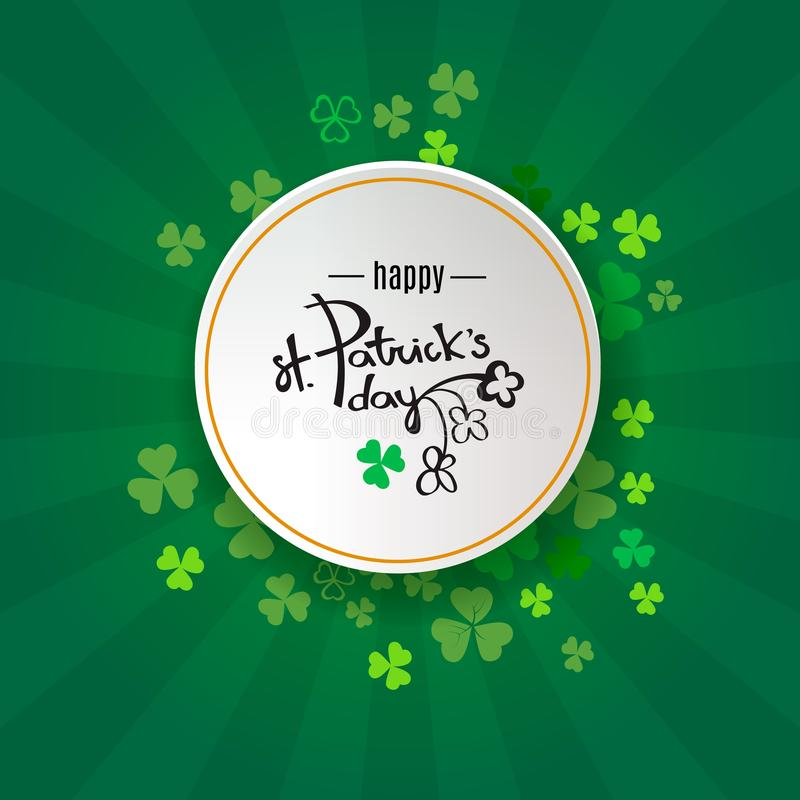 St Patrick`s Day background. Retro poster design with shamrock Ireland symbol. Green clover border and round frame for spring con vector illustration