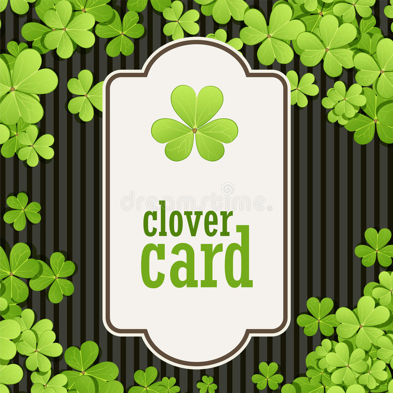 St Patrick's Day background. Vector illustration for lucky spring design with shamrock. Green clover border and square vector illustration