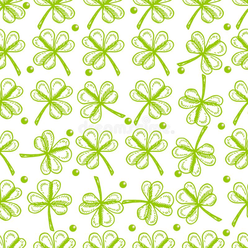 St. Patrick`s Day background. Vector seamless pattern symbols of St. Patrick` s holiday such as green shamrock leaves. St. Patrick`s Day background. Vector vector illustration