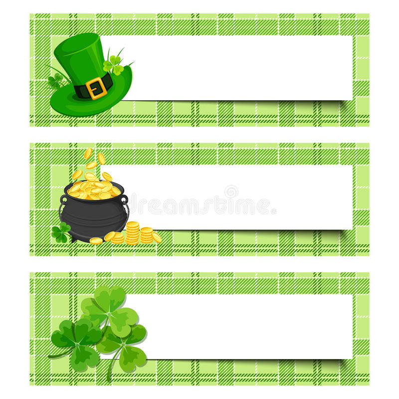 St. Patrick's day banners with shamrock, pot of gold and leprechaun hat. Vector eps-10. royalty free illustration