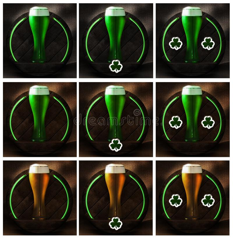 St. Patrick`s day Beer glass on the wood and rustic background royalty free stock images